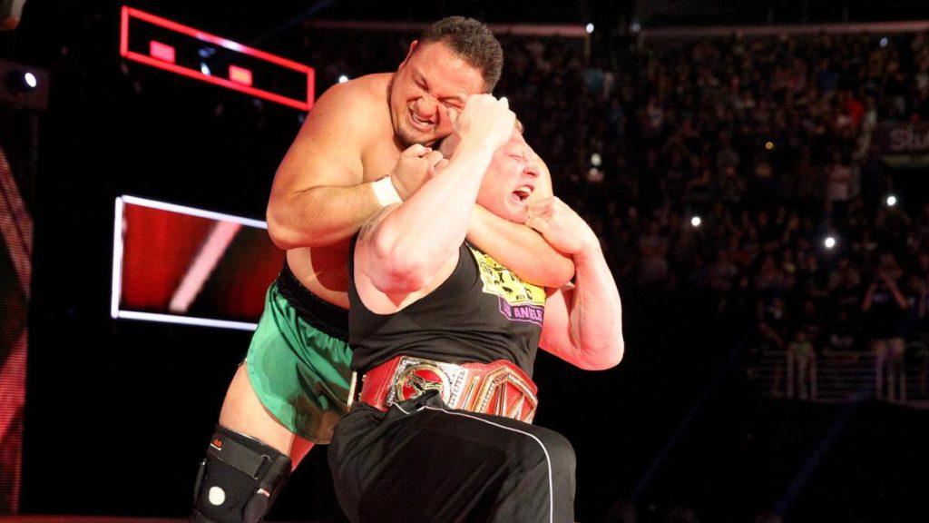 Samoa Joe choking out Brock Lesnar