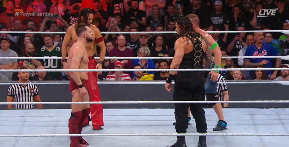 Finn Balor, Shinsuke Nakamura, Roman Reigns, and John Cena at the Royal Rumble 2018